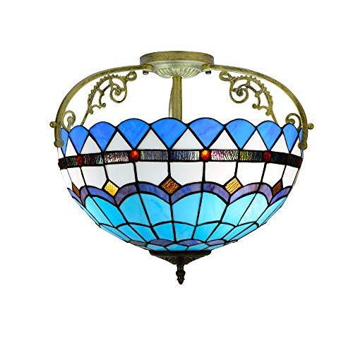Runde Semi Flush (Moderne mediterrane Deckenleuchte blau Tiffany Glasmalerei Hängeleuchte 16 Zoll Semi Flush Mount Deckenleuchte Gang Korridor Veranda Licht Schlafzimmer Badezimmer Pendelleuchte E27 * 3 / 40W)