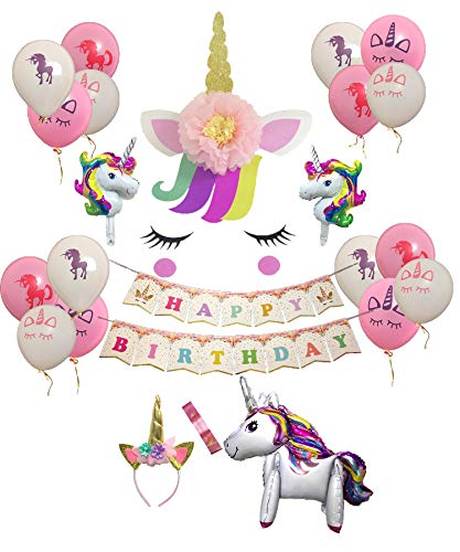 Unicorn Party Decorations Supplies Tema di unicorno Buon compleanno Banner Palloncini in lattice Fascia per bimbo Unicorn Fascia Unicorno Wall Sticker Unicorno Bag