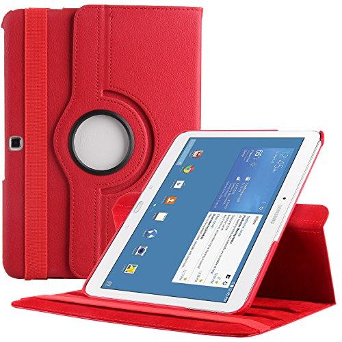 EnGive 360°Drehbares Ledertasche Samsung Galaxy Tab 4 10.1 Hülle (10,1 Zoll) Schutzhülle Case Tasche mit Ständerfunktion Auto Sleep/Wake-Funktion (Samsung Galaxy Tab 4 10.1, Rot)