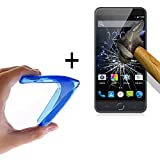 WoowCase - Flexible Gel Schutzhülle für [ Ulefone Paris] [ +1 Schutzglas ] Hartglas, Hülle Case TPU Silikon in Blau