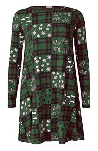 Generic - Robe - Patineuse - Manches Longues - Femme Green Tartan