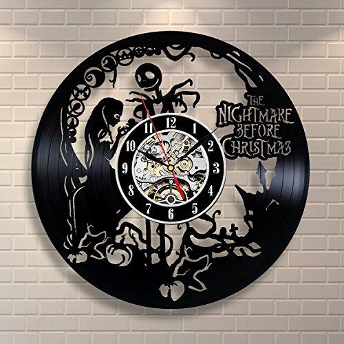 Nightmare Before Christmas Vinyl Record Wall Clock - Dekorieren Ihr Haus mit der modernen Kunst - Geschenk für Kinder Mädchen und Jungen (Antike Jack In The Box)