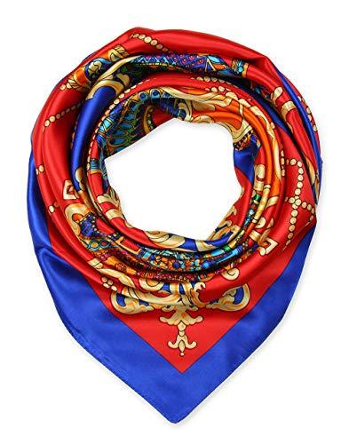 corciova Fashionable stampa modello da donna collo sciarpa foulard fazzoletto per donne 889x 889 by 233 Red Blue Etichettalia unica