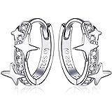 Qings Orecchini a Cerchio da Donna in Argento Sterling 925,Orecchini Huggie con Stelle e Cubic Zirconia Orecchini Piccoli a C