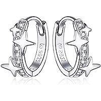 Qings Orecchini a Cerchio da Donna in Argento Sterling 925,Orecchini Huggie con Stelle e Cubic Zirconia Orecchini…