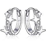 Qings Ohrringe Creolen Damen,Huggie Ohrringe 925 Sterling Silber mit Sternen Zirkonia kreolen silber Klein Earrings Geschenke für Frauen und Mädchen Passt Alltag und Party