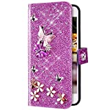 Uposao Compatibile con iPhone 7 Plus/8 Plus Cover Portafoglio Protettiva Custodia in Pelle Brillantini con Stilo Disegno Farfalla Strass Colorato Case a Libro Brillare Diamante Magnetico Cover,Viola