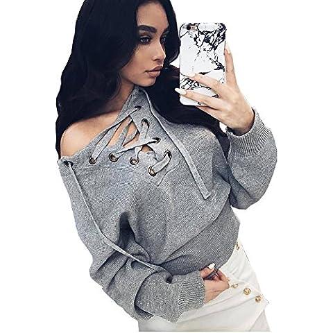 Longwu maniche lunghe sexy scollo a V maglione delle donne
