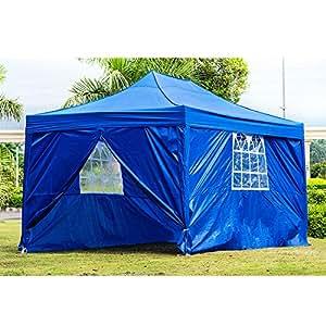 Anaelle Panana Tonnelle Tente de Réception Pliante Imperméable Pavillon du Jardin Extérieure Chapiteau Barnum Etanche PE Couvert, Taille: 3 x 4,5 m, Poids: 25kg (Bleu)