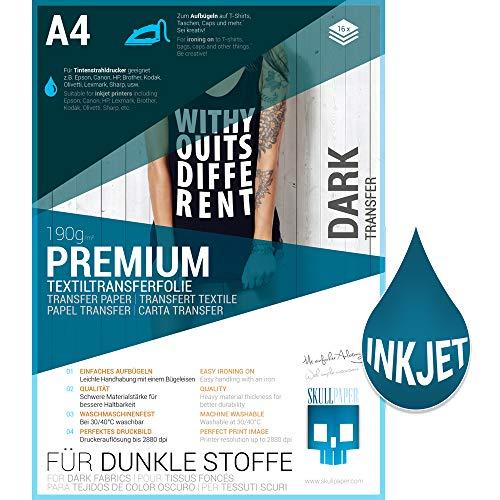 SKULLPAPER Premium A4 T-Shirt Tessile Transfer Film per tessuti scuri e colorati - incl. 200 + modelli di motivo gratis - per stampante inkjet (16 fogli)