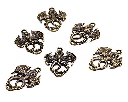 Beads Unlimited Schmuckanhänger aus Metall, Drachen-Design im tibetischen Stil, 35x 28x 2mm, antikgold, 10 Stück