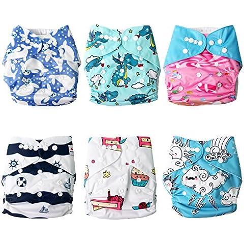 Signstek–6pezzi lavabile Baby tasca panno pannolini con strato interno riutilizzabile e misura regolabile