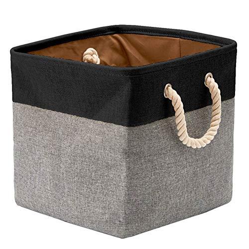 Chytaii Faltbare Aufbewahrungsbox aus Leinen mit dickwandiger und Seilgriffen für Kleidung, Spielzeug; Platz 33 * 33 * 33 cm Schwarz