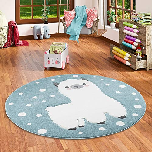 Pergamon Kinder Teppich Maui Kids Alpaka Pastell Blau Rund in 3 Größen