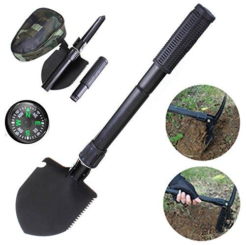 Bluelover Gartenarbeit Multifunktions klappbare Schaufel Spaten Outdoor Camping Survival Werkzeuge mit Kompass
