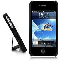 vau SmartStand – schwarz – Apple iPhone 4S / 4 Hard-Case mit Ständer (inkl. Dockschutz)