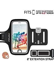 PORTHOLIC Universel Brassard de Sport iPhone 8 Plus/7 Plus/6 Plus/6s Plus,Samsung S9 S8/S8 Plus S7 Edge,Téléphone Jusqu'à 6.0'',Anti-Sueur Armband avec Porte-Clés&Carte,Attache pour Câble -Touch ID