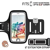 PORTHOLIC Universel Brassard de Sport iPhone 8 plus/7 Plus/6 Plus/6s Plus,Samsung S9 S8 S8 Plus S7/S6 edge,Téléphone Jusqu'à 6.0 Pouces,Anti-Sueur Armband Avec Porte-Clés&Carte,Attache pour Câble -Touch ID