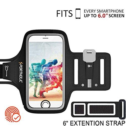 PORTHOLIC Schweißfest Sport Armband Fitness bis 6.0 Zoll für iPhone 8 Plus 7 Plus 6/6S Plus,Galaxy S9/S8/S7 Plus Edge,Note 8/6 LG g6 Huawei P10 Mate Xiaomi Mit Schlüsselhalter/Kabelfach/Kartenhalter -