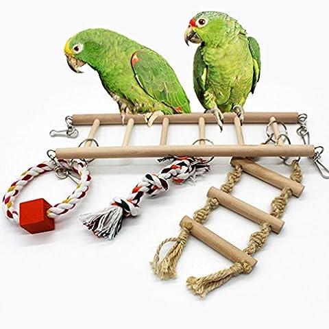 Conures Aras Oiseaux pinsons balançoire en bois pour oiseau Perroquet perruche Cage Hamac jouet à suspendre pour petite perruche calopsitte