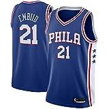 canottejerseyNBA Joel Embiid - Philadelphia 76ers #21, Basket Jersey Maglia Canotta, Swingman Ricamata, Abbigliamento Sportivo (M, Blu)