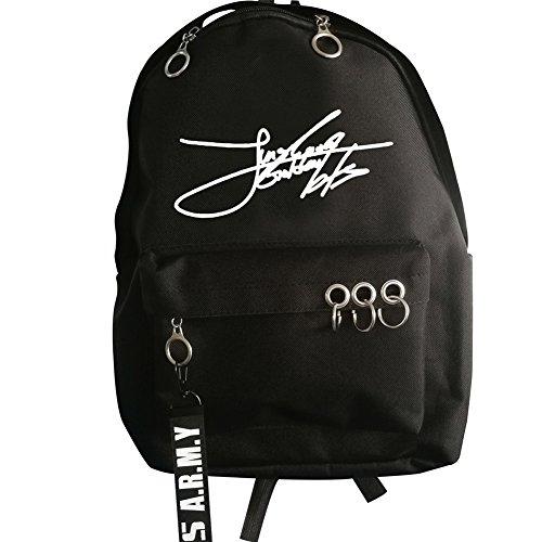 YEeyuTrwd BTS Rucksack BTS Bangtan Boys Suga Jin Jimin Jung Kook Daypack Laptoptasche Buch Tasche Mode Eisen Ring Rucksack- BTS Unterschrift(JUNGKOOK(bk)) - Unterschrift Herren Pullover
