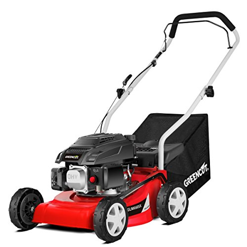Greencut GLM660SX - Cortacésped tracción manual, motor gasolina (40 cm) color rojo