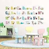Decowall DD-17011701S 1701A 8023Adesivi da muro per bambini con lettere dell'alfabeto in maiuscolo ABC e con immagini, adesivi rimovibile da parete per la camera dei bambini, soggiorno, Multicolore, Large