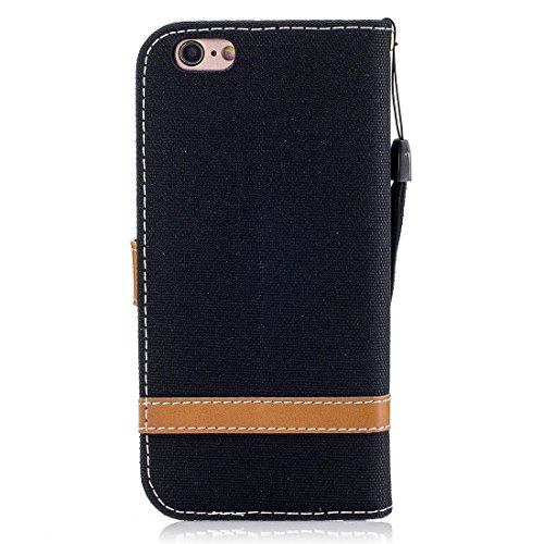 GHC Cases & Covers, Für iPhone 6 & 6S, Denim Texture Leder Tasche mit Halter & Card Slots & Wallet & Lanyard ( Color : Dark blue ) Black