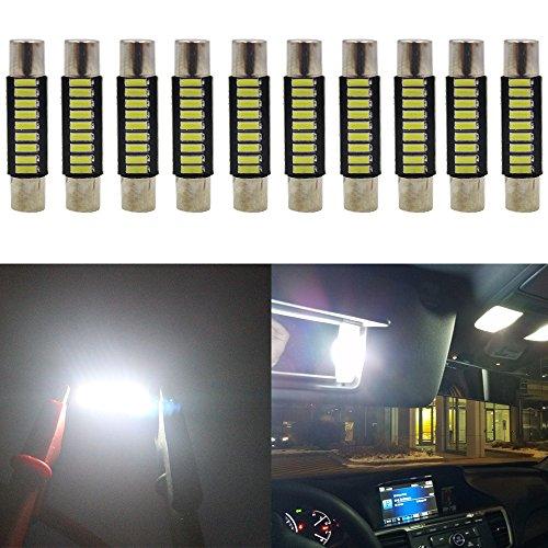 AMAZENAR 10-Pack 100 Lumens Xenon White 28MM (1.1 ') - 31MM (1.25') 12V LED Festoon Luce 4014 9-SMD Lampadine a Specchio Vanity LED Per Veicolo 6615F 6614F 3021 3022 3175 T-2 SF6 / 6