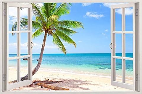 Huge 3D Vinyl Wall Decal Sticker by Bomba-Deal, Window Frame Style High-Quality Home Décor Art Removable Wall Sticker, 85cm X 115cm (Ocean Beach Seascape Palm Tree