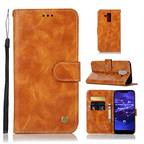 Huawei Mate 20 Lite Wallet case, Homory Huawei Mate 20 Lite Flip case, Classy Slim Leather Wallet, ID Credit Card Slot Holder for Huawei Mate 20 Lite - Light Brown (Card Leather Credit Womens Case)