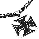 tumundo Set 1x Königskette Ø 5mm + 1x Anhänger Eisernes Kreuz Kruzifix Halskette Massiv Herrenschmuck Kettenanhänger, Farbe:Modell 2-50cm