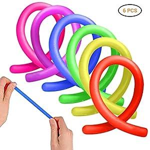 6 Stücke Stretchy String Fidget Toys, Dehnbare Spielzeuge für Erwachsene, Jugendliche und Kinder Werkzeuge für Stressabbau, Angst, Fokus | Arbeit, Schule, Bürozubehör | ADHS, ADD, OCD, Autismus