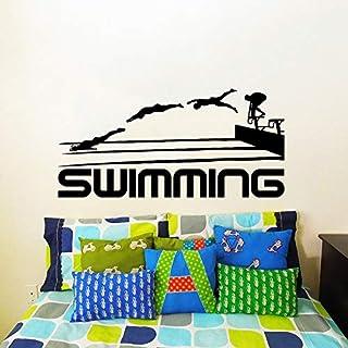 haochenli188 Schwimmen Zitate Sport Serie Kunst wandaufkleber Schwimmen Sportler springen Silhouetten speziell gestaltete wandtattoos wandbild adesiv 29x57cm