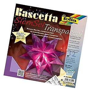 Folia 860/2020 DIY kit Bascetta- Set creativo de estrellas (20 x 20 cm) (32 hojas de papel transparente color morado)Importado de Alemania
