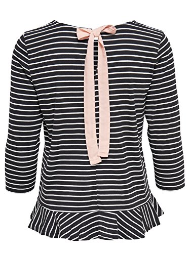 JDY Ladies Cotton Jersey Three Quarter Length Sleeve Stripe Pattern Peplum Hem Bow Back Fasten Top