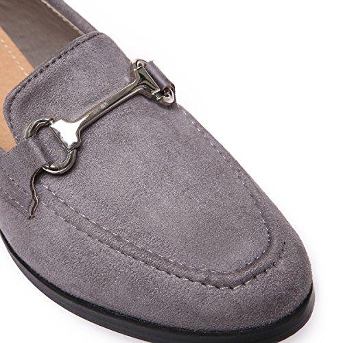La Modeuse Mocassins Femmes en suédinePrésence DUn Ornement Doré Sur le Devant de la Chaussure Gris