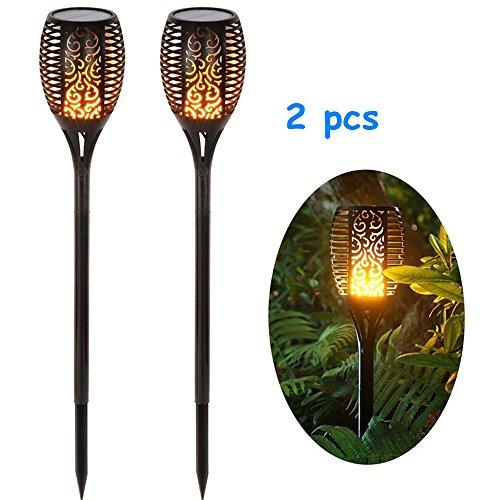 2 Stück Solar Garten Flammen Fackeln 96 LED Bis Dawn Automatische Ein/Aus(Licht Sensor), spotlight Gartenleuchte licht garten beleuchtung solar spotlight Außen warmlicht Wasserdicht IP65