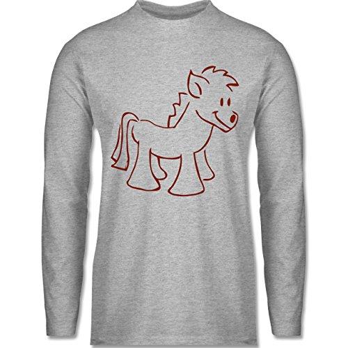 Shirtracer Pferde - Pony - Herren Langarmshirt Grau Meliert