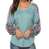 Mymyguoe Frauen Gedruckt Tuniken Blusen Casual Tops Printed Langarmshirts V-Ausschnitt T-Shirts Lose Pullover Bluse Oberteile Oversized Pulli Shirt