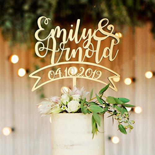 Personalisierte Datum benutzerdefinierte Holz Favorit Hochzeit Topper echte Namen rustikale Acryl Gold Rose Gold Dekorationen Cake Topper