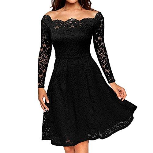 Frauen Vintage Schulterfrei Spitze Formelle Abend Party Kleid, KaloryWee Knielanges Elegantes Langarm Kleid (XL, Schwarz) (Kürzer Stretch-körper)