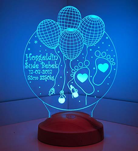 Sentidos Personalisierte Geschenke Baby 3D Led Lampe, Wunschtext, Schlummerlicht, Farbwechsel Dekor Lampe (Willkommen Baby) - Sevgi Lambasi