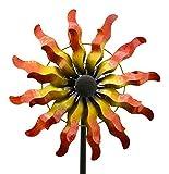 Windrad Sonne - Gelb & Orange - Metall - Ø 40cm/Höhe: 170cm - Wetterfest - Hochwertige Qualität & Stabiler Standstab - Gartenstecker/Metallwindrad/Windräder Sonnenmotiv - Gartendeko