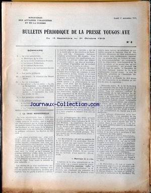 BULLETIN PERIODIQUE DE LA PRESSE YOUGOSL...