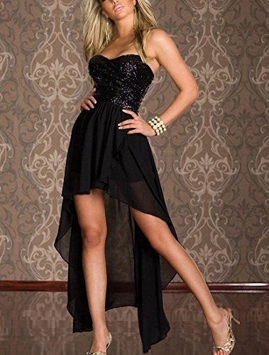 Hoofun Sexy Damen Asymmetrisch Rückenfrei Kleid Minikleid Party Abendkleid Vokuhila-Kleid Schwarz