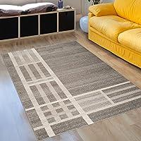 Shaggy Teppich Oval Hochflor ins Wohnzimmer Korridor Creme Wellen Streifen Neu
