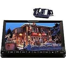 Cámara del revés + Eincar 7 pulgadas 2 Din Bluetooth Autoradio en Dash de navegación GPS estéreo Moniceiver FM / AM / sintonizador de radio RDS con pantalla táctil digital de coches reproductor de DVD compatible con Aux Subwoofer SD / USB de dirección Unidades de Control de la rueda Carlogo opcional Head