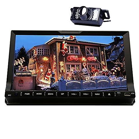 Rückseiten-Kamera + Eincar 7 Zoll 2 Din Autoradio Bluetooth in Dash GPS Navigation Stereo Moniceiver FM / AM / RDS-Radio-Tuner mit Digital-Screen-Unterstützung Auto-DVD-Spieler Aux Subwoofer SD / USB-Lenkrad-Steuerung Carlogo optionale Head